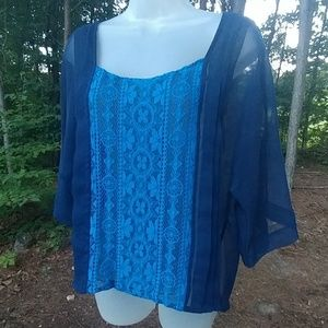 Blue Sheer Embroidered Jessica Simpson Blouse